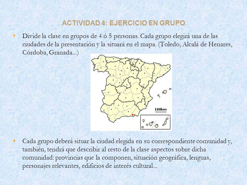 ACTIVIDAD 4: EJERCICIO EN GRUPO Divide la clase en grupos de 4 ó 5 personas. Cada grupo elegirá una de las ciudades de la presentación y la situará en