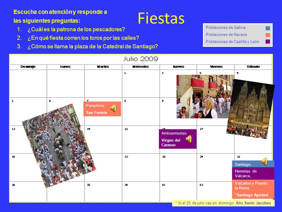 Santiago, Herrerías de Valcarce, Ambasmestas: Virgen del Carmen Fiestas Poblaciones de Galicia Poblaciones de Navarra Poblaciones de Castilla y León P
