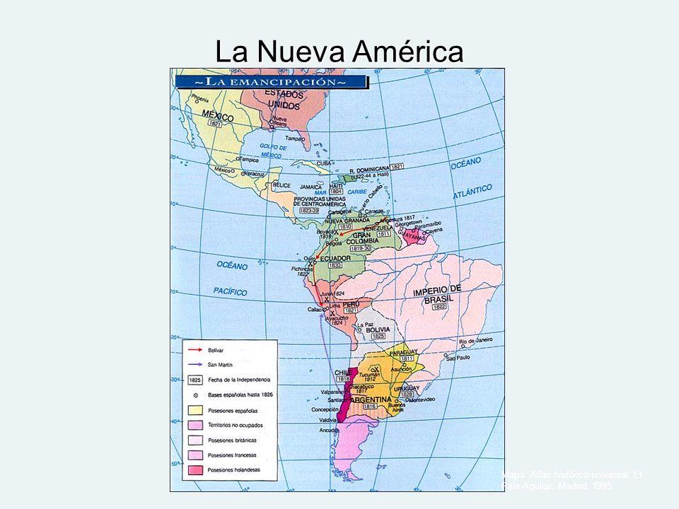 La Nueva América Mapa: Atlas histórico universal. El País-Aguilar. Madrid, 1995.