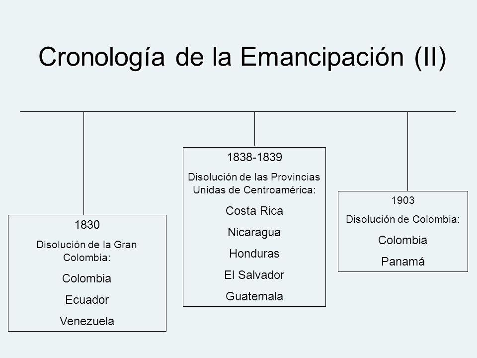 Cronología de la Emancipación (II) 1830 Disolución de la Gran Colombia: Colombia Ecuador Venezuela 1838-1839 Disolución de las Provincias Unidas de Ce
