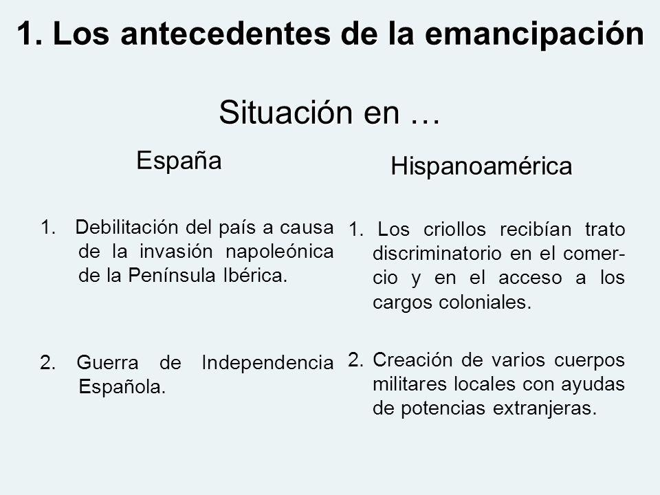 1. Los antecedentes de la emancipación Situación en … España 1. Debilitación del país a causa de la invasión napoleónica de la Península Ibérica. 2. G