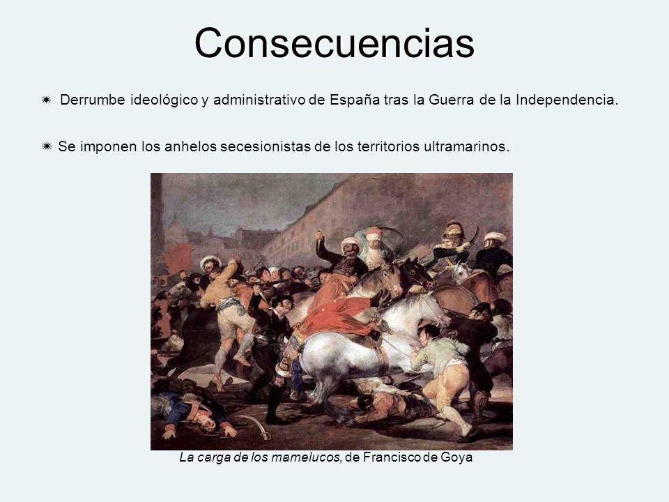 Consecuencias Derrumbe ideológico y administrativo de España tras la Guerra de la Independencia. Se imponen los anhelos secesionistas de los territori