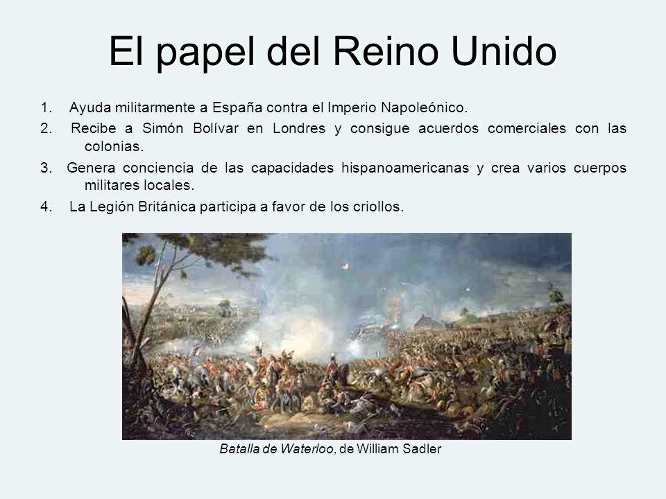 El papel del Reino Unido 1. Ayuda militarmente a España contra el Imperio Napoleónico. 2. Recibe a Simón Bolívar en Londres y consigue acuerdos comerc