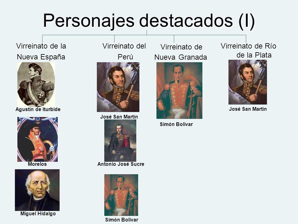 Personajes destacados (I) Virreinato de la Nueva España Virreinato del Perú Perú Virreinato de Nueva Granada Virreinato de Nueva Granada Virreinato de