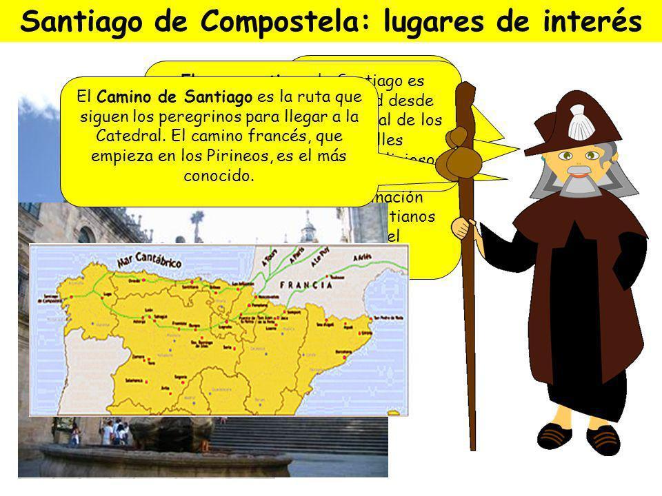 Santiago de Compostela Según la leyenda, fue fundada cuando unas estrellas señalaron la tumba del Apóstol Santiago, uno de los discípulos de Jesús. ¡H