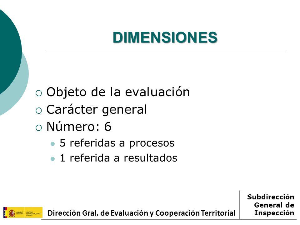DIMENSIONES Objeto de la evaluación Carácter general Número: 6 5 referidas a procesos 1 referida a resultados Dirección Gral.