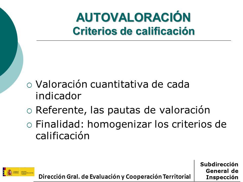 AUTOVALORACIÓN Criterios de calificación Valoración cuantitativa de cada indicador Referente, las pautas de valoración Finalidad: homogenizar los criterios de calificación Dirección Gral.
