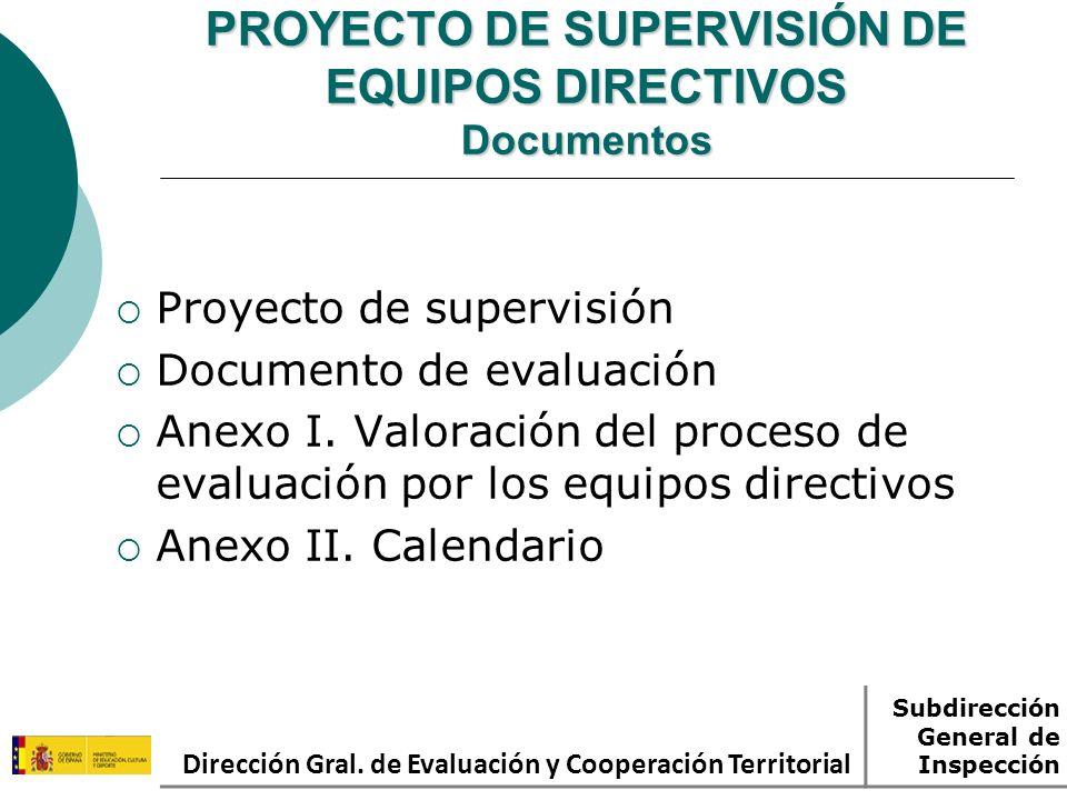 PROYECTO DE SUPERVISIÓN DE EQUIPOS DIRECTIVOS Documentos Proyecto de supervisión Documento de evaluación Anexo I. Valoración del proceso de evaluación
