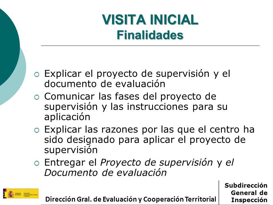 VISITA INICIAL Finalidades Explicar el proyecto de supervisión y el documento de evaluación Comunicar las fases del proyecto de supervisión y las inst