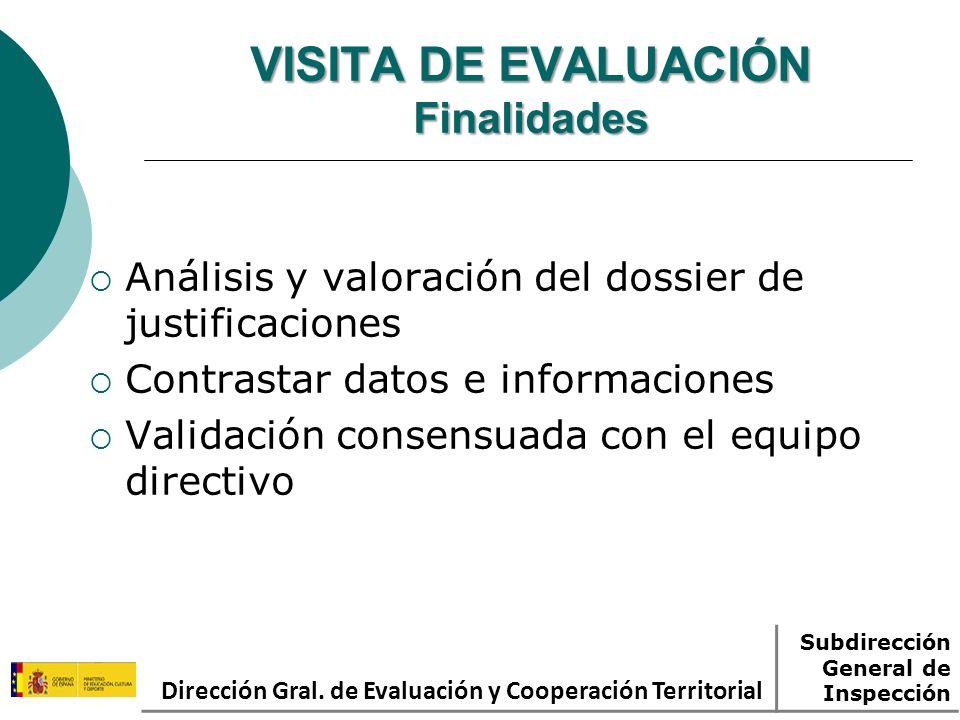 VISITA DE EVALUACIÓN Finalidades Análisis y valoración del dossier de justificaciones Contrastar datos e informaciones Validación consensuada con el equipo directivo Dirección Gral.