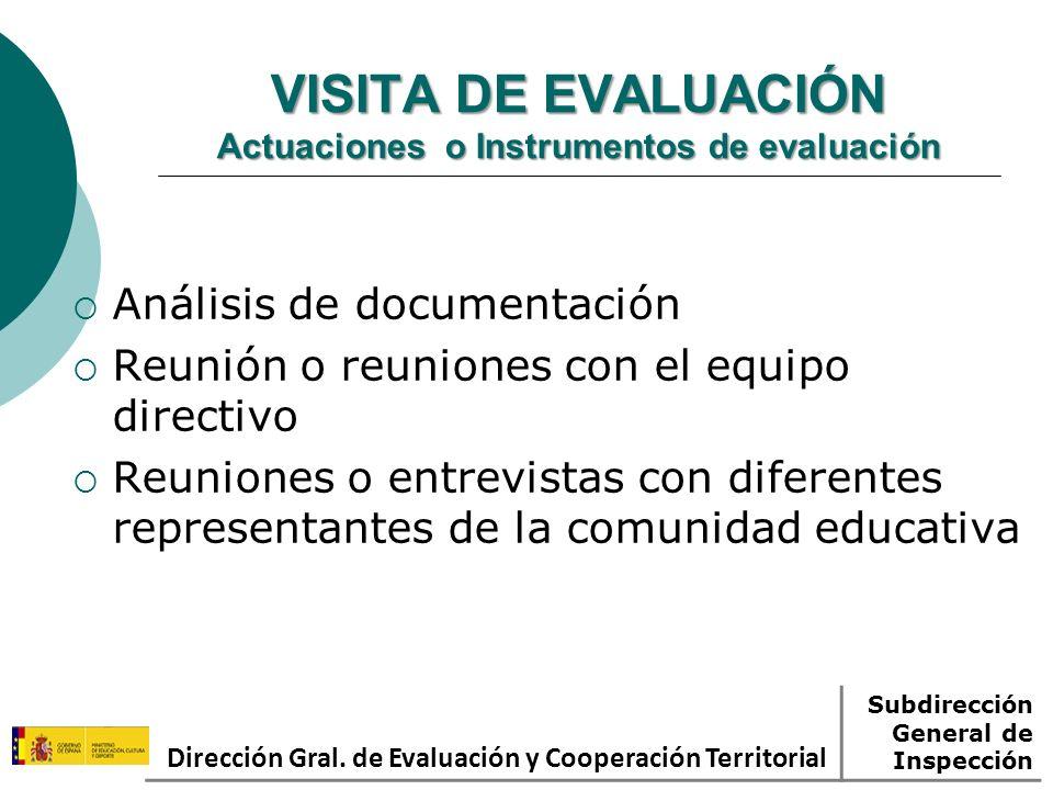 VISITA DE EVALUACIÓN Actuaciones o Instrumentos de evaluación Análisis de documentación Reunión o reuniones con el equipo directivo Reuniones o entrev