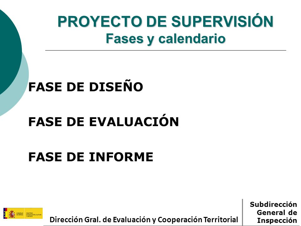 PROYECTO DE SUPERVISIÓN Fases y calendario FASE DE DISEÑO FASE DE EVALUACIÓN FASE DE INFORME Dirección Gral. de Evaluación y Cooperación Territorial S