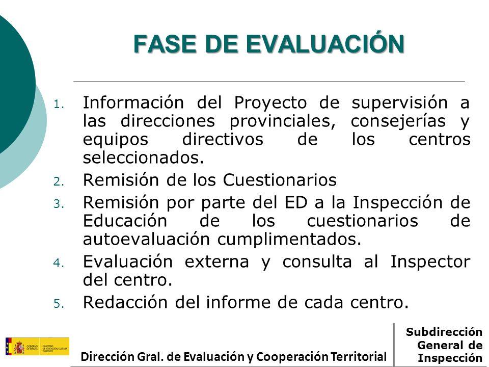 FASE DE EVALUACIÓN 1. Información del Proyecto de supervisión a las direcciones provinciales, consejerías y equipos directivos de los centros seleccio