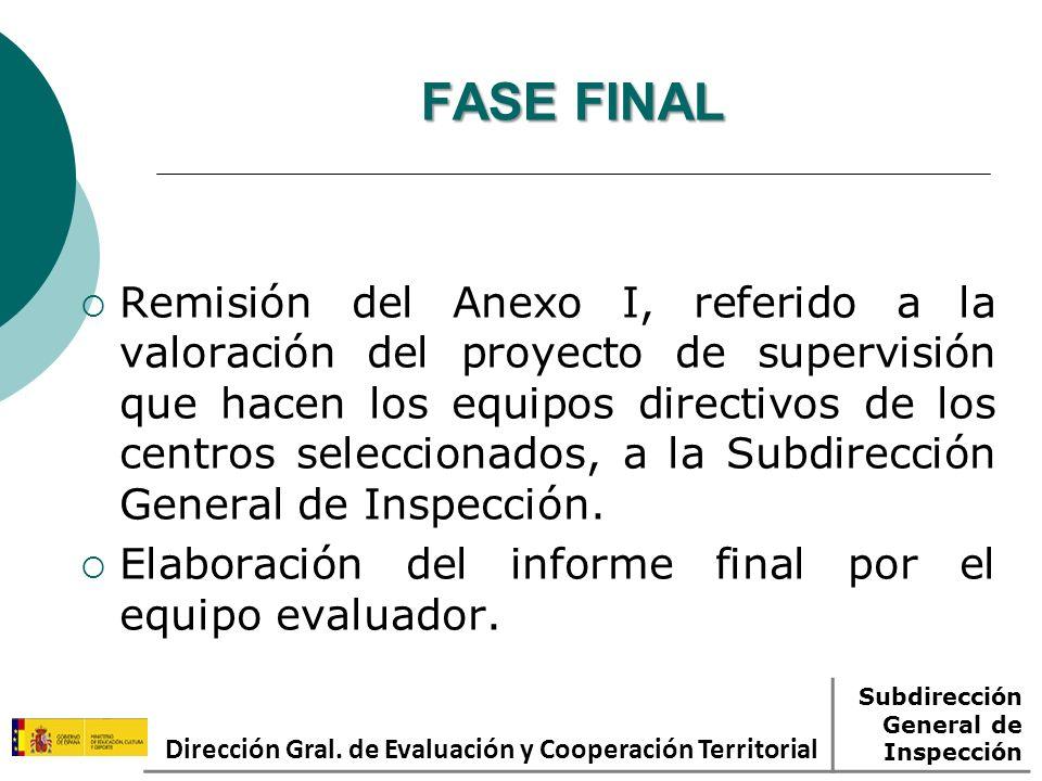 FASE FINAL Remisión del Anexo I, referido a la valoración del proyecto de supervisión que hacen los equipos directivos de los centros seleccionados, a