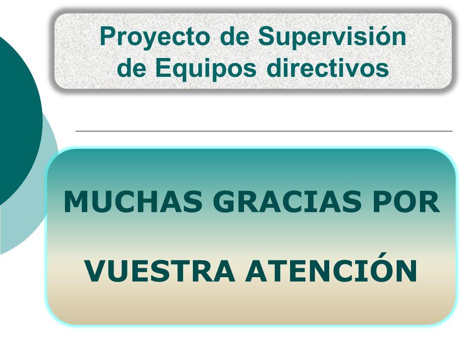 Proyecto de Supervisión de Equipos directivos MUCHAS GRACIAS POR VUESTRA ATENCIÓN