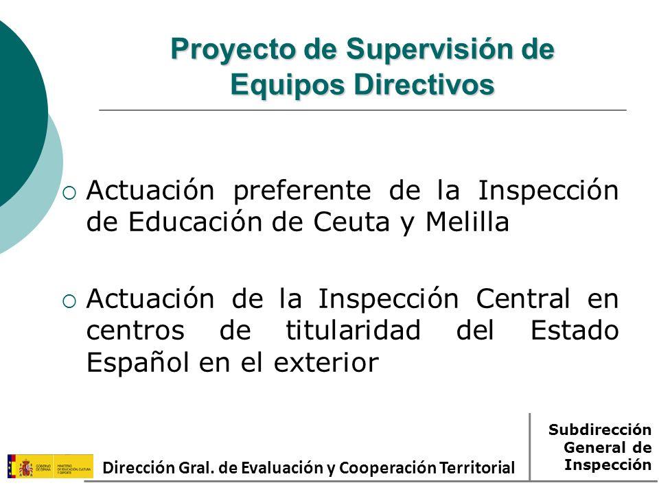 Proyecto de Supervisión de Equipos Directivos Actuación preferente de la Inspección de Educación de Ceuta y Melilla Actuación de la Inspección Central en centros de titularidad del Estado Español en el exterior Dirección Gral.