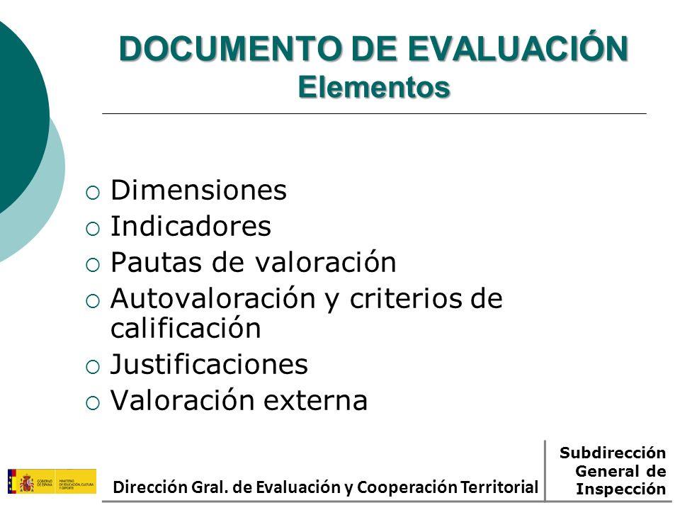 DOCUMENTO DE EVALUACIÓN Elementos Dimensiones Indicadores Pautas de valoración Autovaloración y criterios de calificación Justificaciones Valoración e