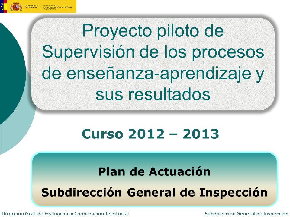 PROYECTO PILOTO Supervisión de los procesos de enseñanza-aprendizaje y sus resultados 1.