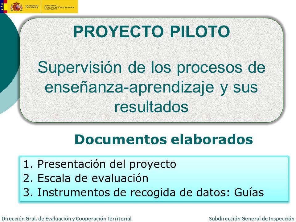 Actuación preferente de la Inspección de Educación de Ceuta y Melilla Actuación de la Inspección Central en centros de titularidad del Estado Español en el exterior Proyecto piloto de supervisión Dirección Gral.