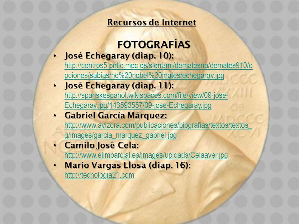 Recursos de Internet FOTOGRAFÍAS José Echegaray (diap. 10): José Echegaray (diap. 10): http://centros5.pntic.mec.es/sierrami/dematesna/demates910/o pc