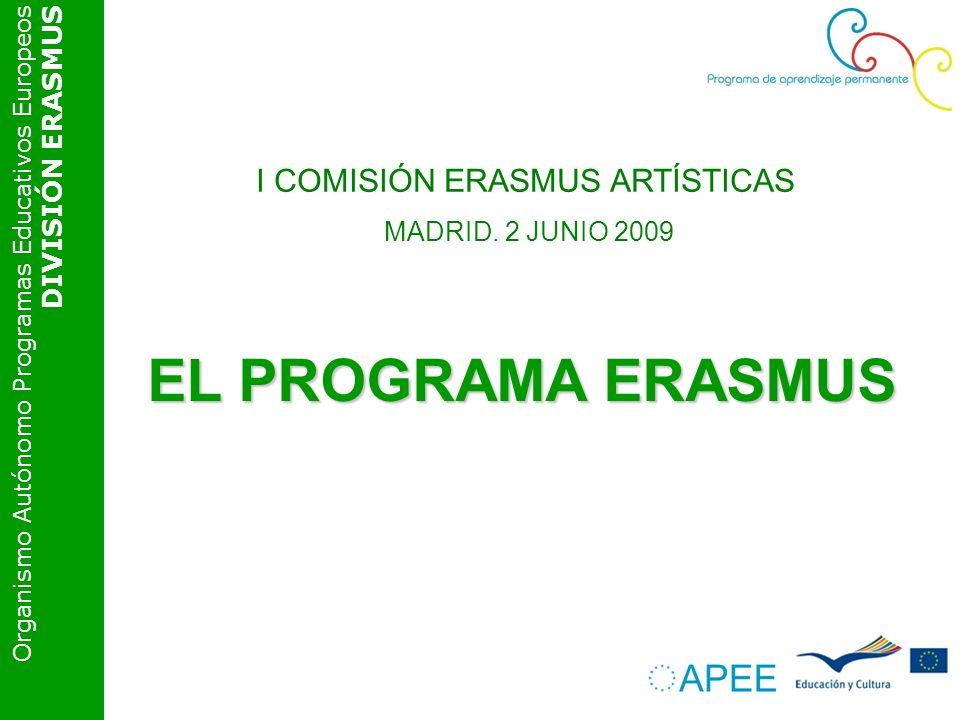 Organismo Autónomo Programas Educativos Europeos DIVISIÓN ERASMUS EL PROGRAMA ERASMUS I COMISIÓN ERASMUS ARTÍSTICAS MADRID. 2 JUNIO 2009