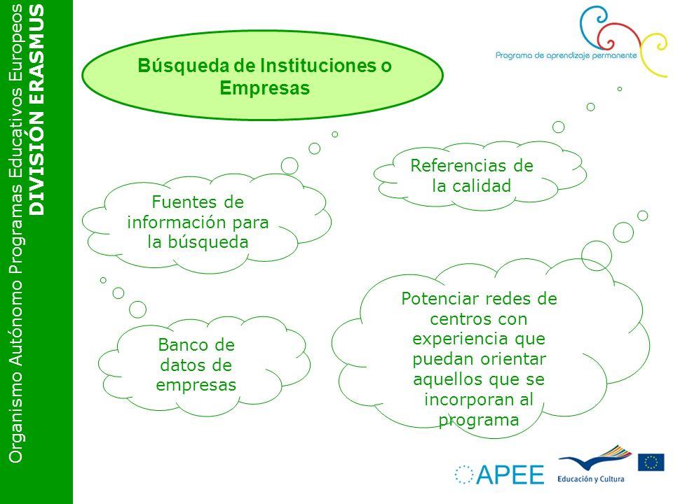Organismo Autónomo Programas Educativos Europeos DIVISIÓN ERASMUS Referencias de la calidad Potenciar redes de centros con experiencia que puedan orientar aquellos que se incorporan al programa Fuentes de información para la búsqueda Banco de datos de empresas Búsqueda de Instituciones o Empresas