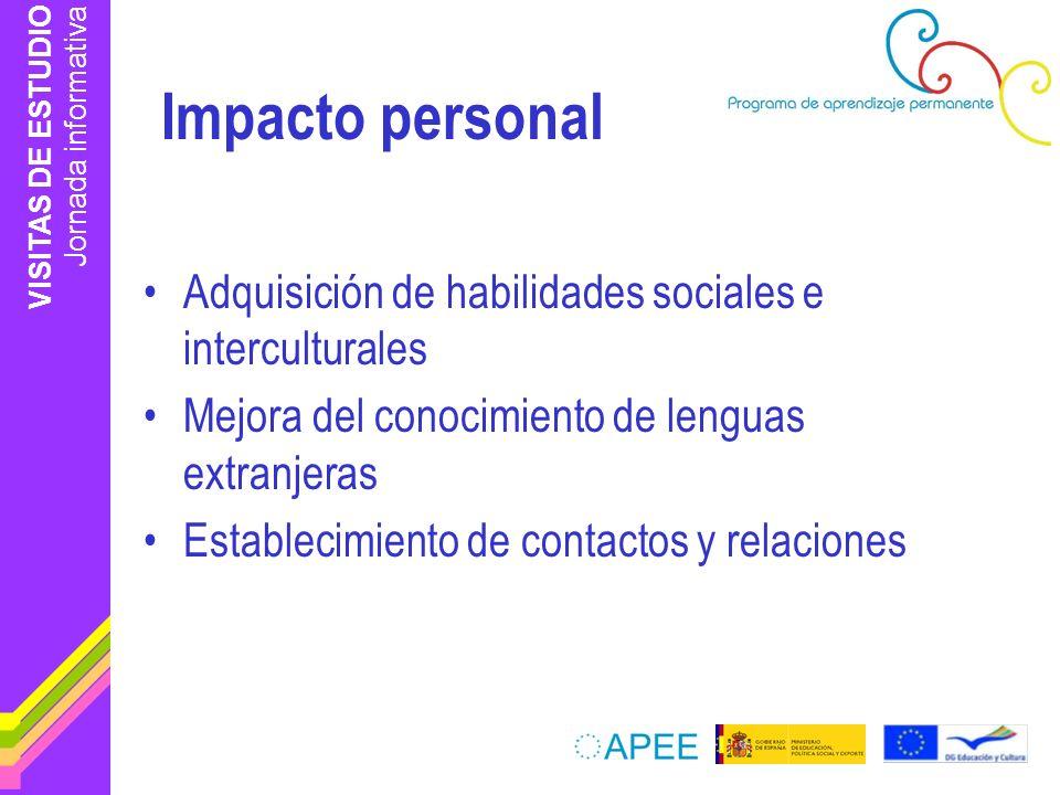 VISITAS DE ESTUDIO Jornada informativa Impacto personal Adquisición de habilidades sociales e interculturales Mejora del conocimiento de lenguas extranjeras Establecimiento de contactos y relaciones