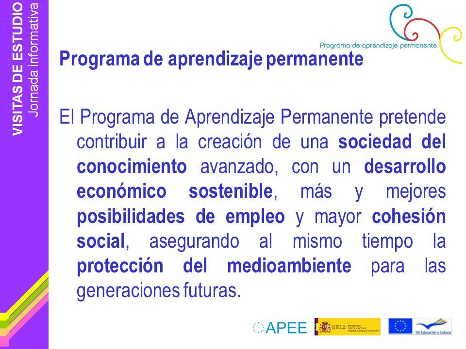 VISITAS DE ESTUDIO Jornada informativa Impacto en el centro de trabajo Potenciar programas europeos Organización de actividades a nivel local, regional,… Dimensión europea Desarrollo de iniciativas innovadoras Promover interés para participar en programas internacionales