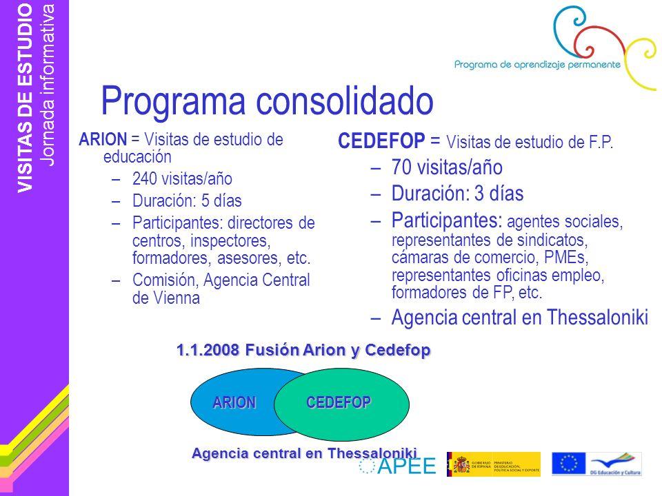 VISITAS DE ESTUDIO Jornada informativa Programa consolidado ARION = Visitas de estudio de educación –240 visitas/año –Duración: 5 días –Participantes: directores de centros, inspectores, formadores, asesores, etc.