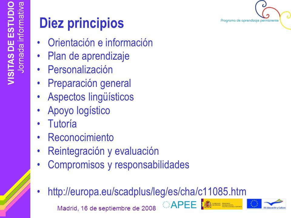 VISITAS DE ESTUDIO Jornada informativa Madrid, 16 de septiembre de 2008 Diez principios Orientación e información Plan de aprendizaje Personalización