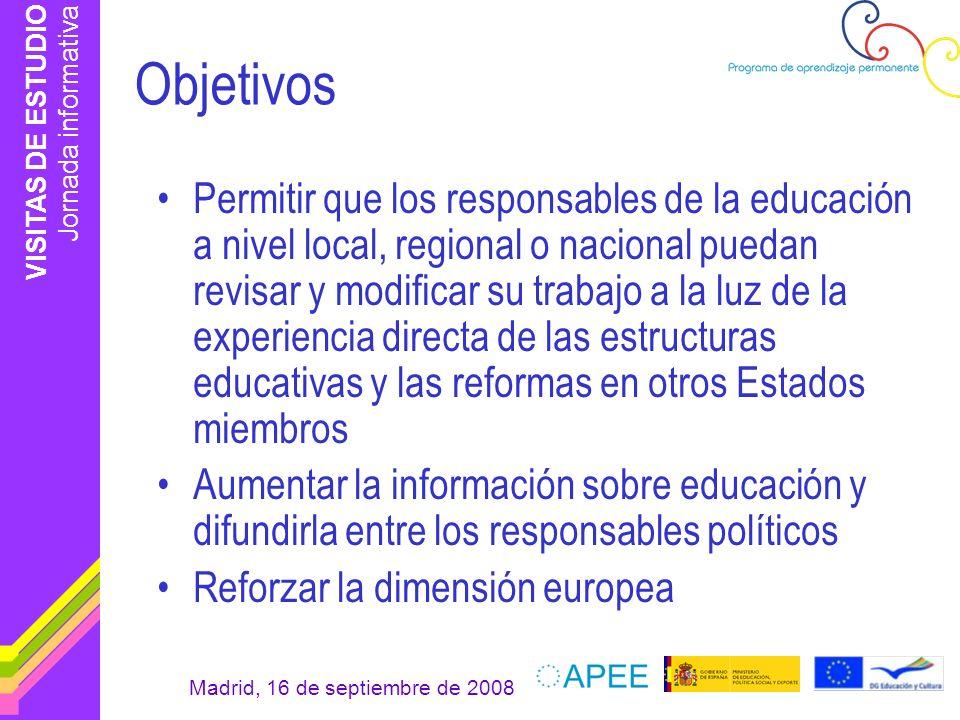 VISITAS DE ESTUDIO Jornada informativa Madrid, 16 de septiembre de 2008 Objetivos Permitir que los responsables de la educación a nivel local, regiona