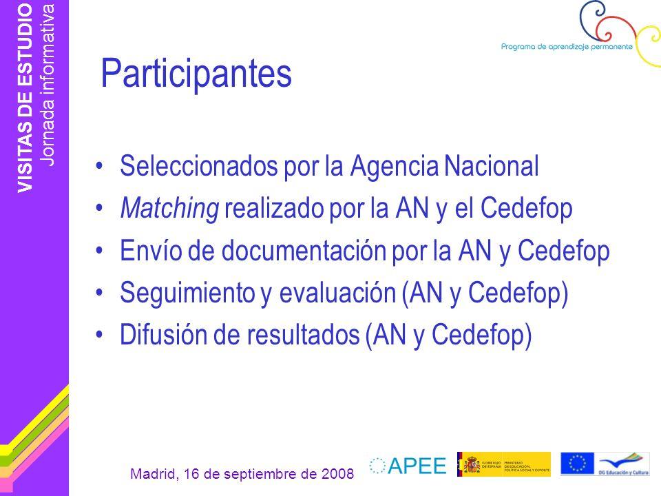 VISITAS DE ESTUDIO Jornada informativa Madrid, 16 de septiembre de 2008 También pueden optar Participantes por iniciativa propia Ciudadanos del país –Aprobación de la AN –Plazas vacantes –No reciben ayuda