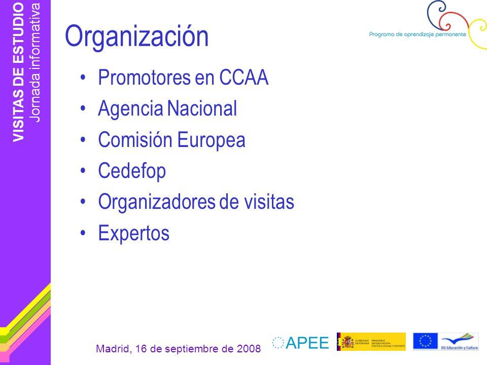 VISITAS DE ESTUDIO Jornada informativa Madrid, 16 de septiembre de 2008 Período de ejecución 2008-2009 Visitas de estudio: 306 –Educación: 152 –Formación profesional: 51 –Tipo mixto: 103 Participantes españoles: 211 Países participantes: 31