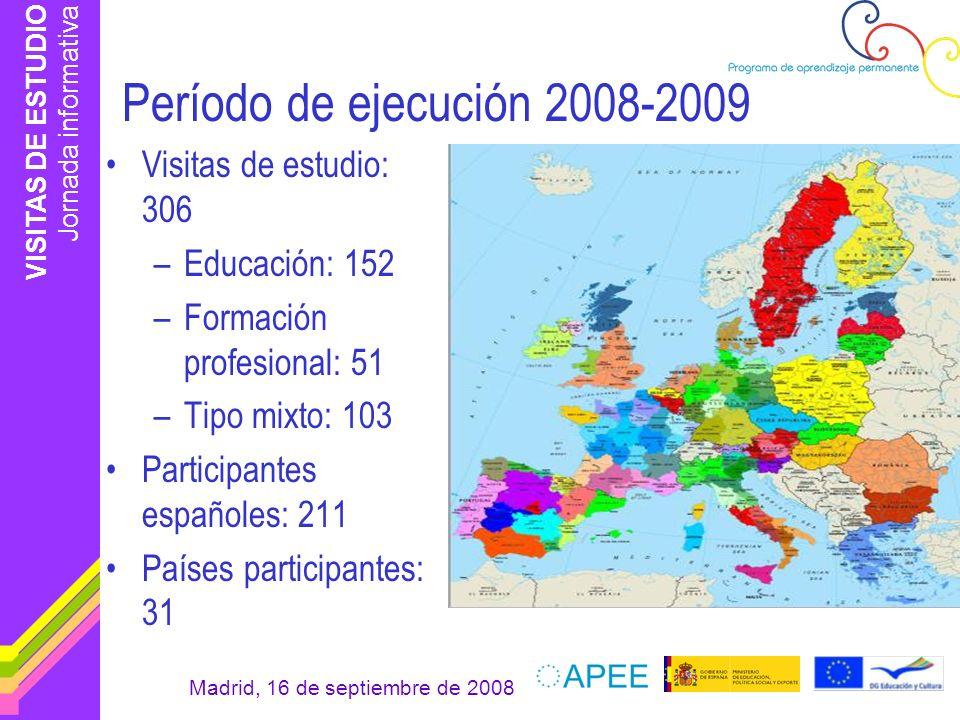 VISITAS DE ESTUDIO Jornada informativa Madrid, 16 de septiembre de 2008 Período de ejecución 2008-2009 Visitas de estudio: 306 –Educación: 152 –Formac