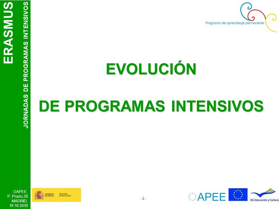 ERASMUS JORNADAS DE PROGRAMAS INTENSIVOS OAPEE, P. Prado,28 MADRID, 19.10.2010 -1- EVOLUCIÓN DE PROGRAMAS INTENSIVOS