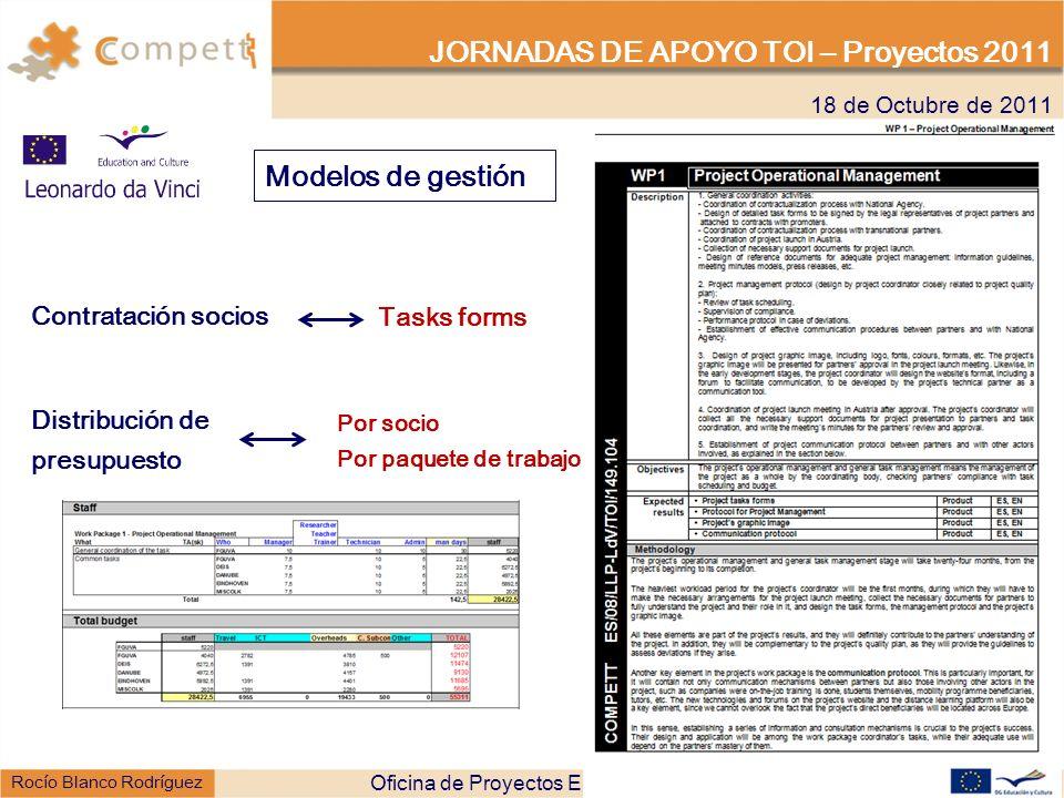 18 de Octubre de 2011 JORNADAS DE APOYO TOI – Proyectos 2011 Rocío Blanco Rodríguez Modelos de gestión Contratación socios Tasks forms Oficina de Proyectos Europeos de la Universidad de Valladolid - OPEUVA Distribución de presupuesto Por socio Por paquete de trabajo