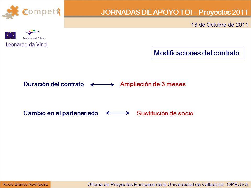 18 de Octubre de 2011 JORNADAS DE APOYO TOI – Proyectos 2011 Rocío Blanco Rodríguez Modificaciones del contrato Duración del contrato Ampliación de 3 meses Oficina de Proyectos Europeos de la Universidad de Valladolid - OPEUVA Cambio en el partenariado Sustitución de socio