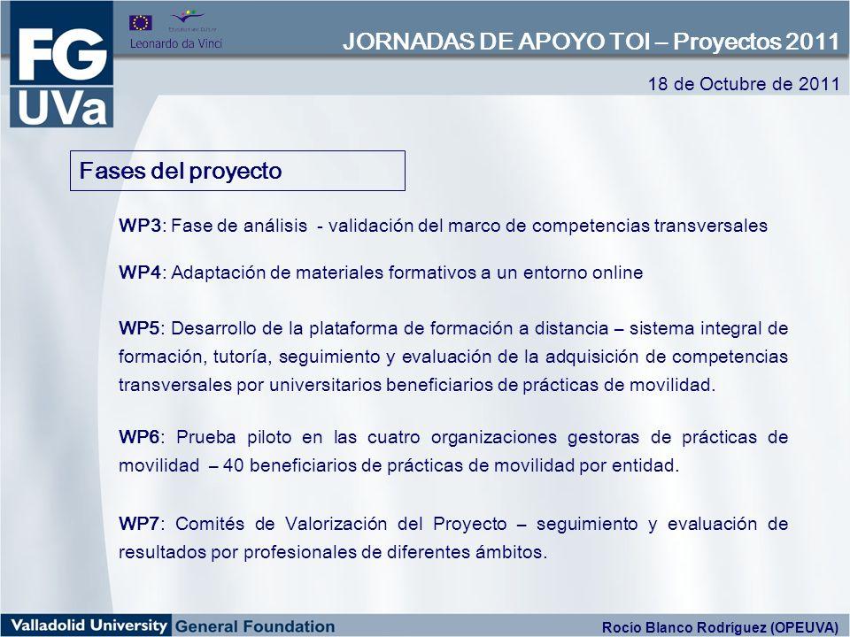 Fases del proyecto WP3: Fase de análisis - validación del marco de competencias transversales WP4: Adaptación de materiales formativos a un entorno on