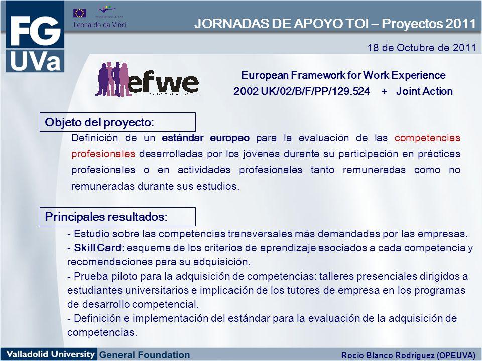 Definición de un estándar europeo para la evaluación de las competencias profesionales desarrolladas por los jóvenes durante su participación en prácticas profesionales o en actividades profesionales tanto remuneradas como no remuneradas durante sus estudios.