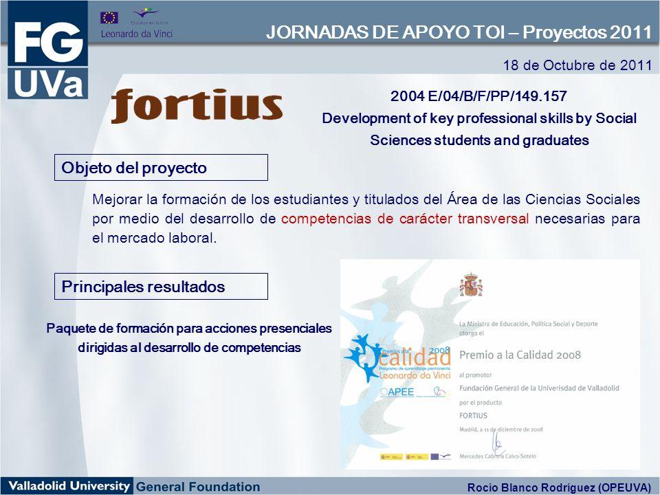 COMPETT www.compett.net http://deis.ie/cplatform 18 de Octubre de 2011 JORNADAS DE APOYO TOI – Proyectos 2011 Oficina de Proyectos Europeos de la Universidad de Valladolid - OPEUVA Rocío Blanco Rodríguez