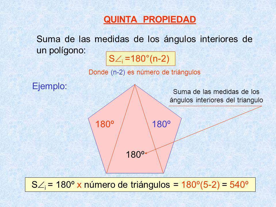 QUINTA PROPIEDAD Suma de las medidas de los ángulos interiores de un polígono: S i =180°(n-2) Ejemplo: 180º S i = 180º x número de triángulos = 180º(5