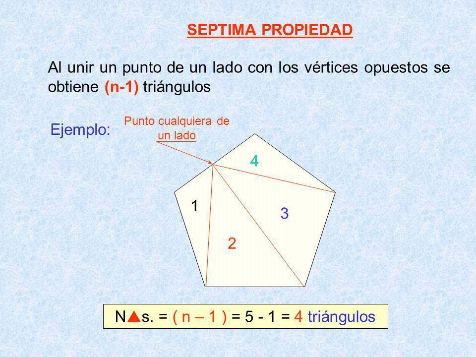 SEPTIMA PROPIEDAD Al unir un punto de un lado con los vértices opuestos se obtiene (n-1) triángulos Ejemplo: 3 2 1 4 N s. = ( n – 1 ) = 5 - 1 = 4 triá