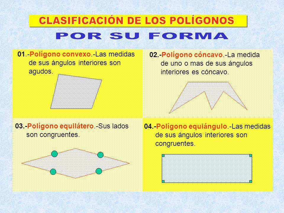 Triángulo : 3 lados Cuadrilátero: 4 lados Pentágono:5 lados Hexágono:6 lados Heptágono:7 lados Octógono:8 lados Eneágono : 9 lados Decágono: 10 lados Endecágono: 11 lados Dodecágono: 12 lados Pentadecágono:15 lados Icoságono: 20 lados 05.-Polígono regular.-Es equilátero y a su vez equiángulo.