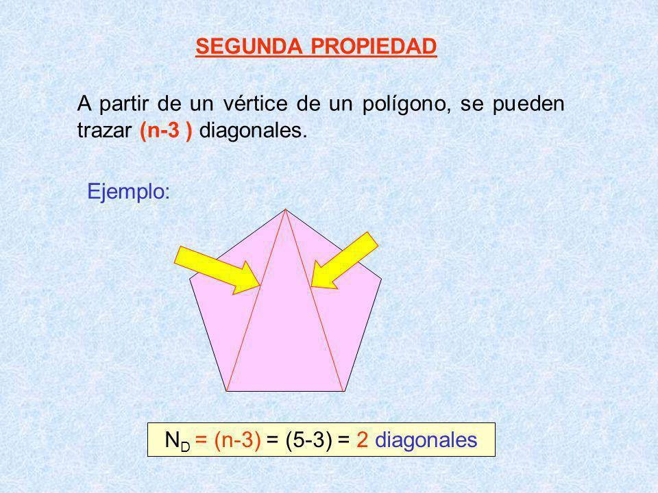 SEGUNDA PROPIEDAD A partir de un vértice de un polígono, se pueden trazar (n-3 ) diagonales. Ejemplo: N D = (n-3) = (5-3) = 2 diagonales