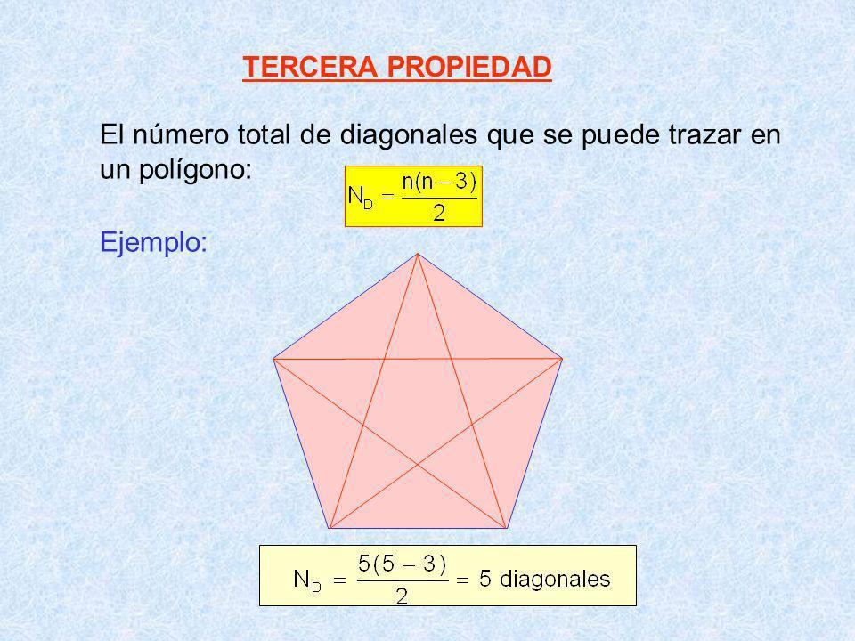 CUARTA PROPIEDAD Al trazar diagonales desde un mismo vértice se obtiene (n-2) triángulos Ejemplo: 3 2 1 N s.