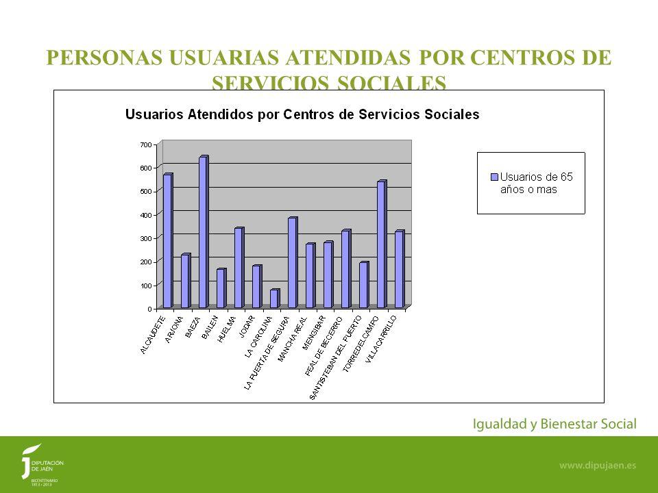 14 PERSONAS USUARIAS ATENDIDAS POR CENTROS DE SERVICIOS SOCIALES