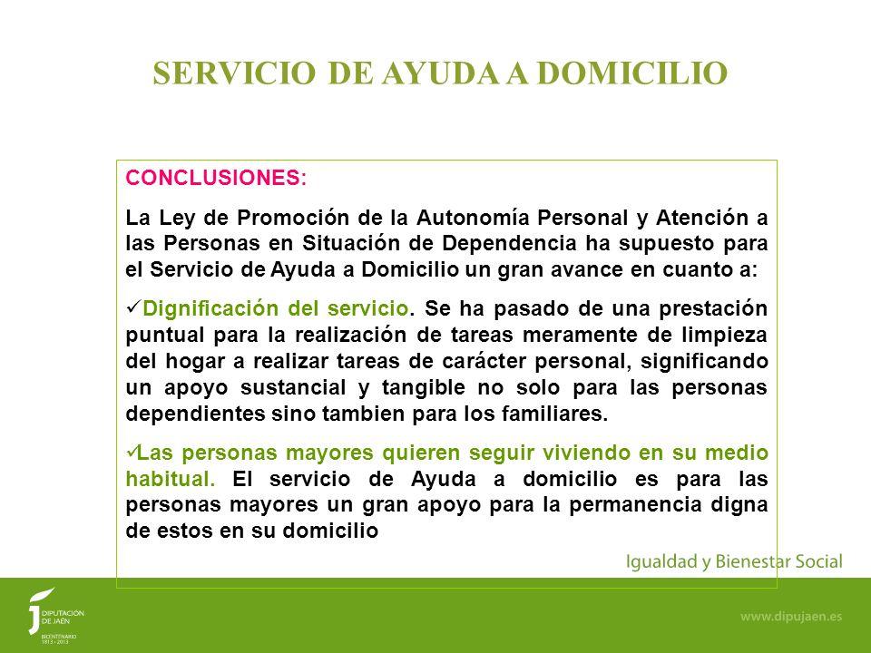 18 SERVICIO DE AYUDA A DOMICILIO CONCLUSIONES: La Ley de Promoción de la Autonomía Personal y Atención a las Personas en Situación de Dependencia ha s