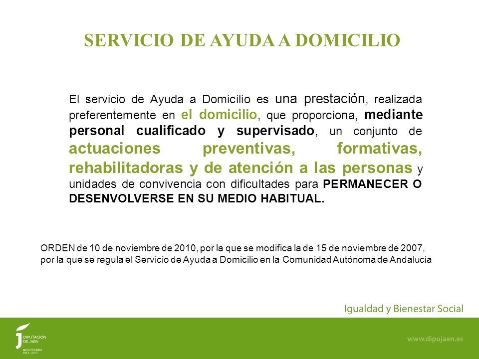 22 SERVICIO DE AYUDA A DOMICILIO ORDEN de 10 de noviembre de 2010, por la que se modifica la de 15 de noviembre de 2007, por la que se regula el Servi