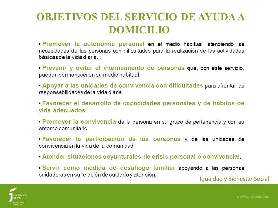 44 OBJETIVOS DEL SERVICIO DE AYUDA A DOMICILIO Promover la autonomía personal en el medio habitual, atendiendo las necesidades de las personas con dif