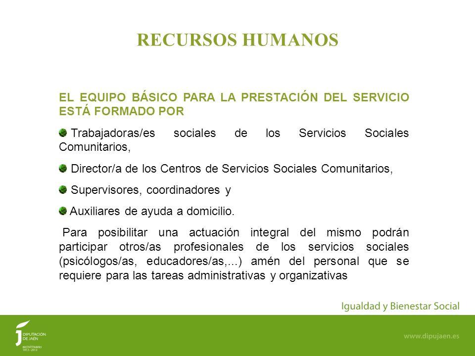 66 RECURSOS HUMANOS EL EQUIPO BÁSICO PARA LA PRESTACIÓN DEL SERVICIO ESTÁ FORMADO POR Trabajadoras/es sociales de los Servicios Sociales Comunitarios,
